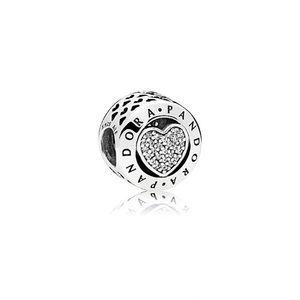 NWOT Pandora signature heart charm silver/ CZs